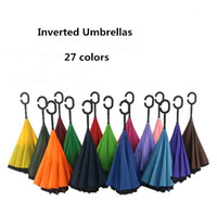 Wholesale Creative Inverted Umbrellas Double Layer With C Handle Inside Out Reverse Windproof Umbrella colors TOP1565