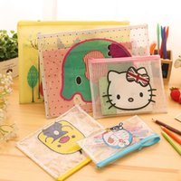 Wholesale Hello Kitty Document File Bag Holder Storage Case Cosmetic Makeup Bag Student Stationery School Supplies Pen Bag Container