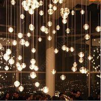 Wholesale Custom G4 LED Crystal Glass Ball Pendant Lamps Meteor Rain Ceiling Lights Meteoric Shower Stair Droplight Chandeliers Lighting AC110V V
