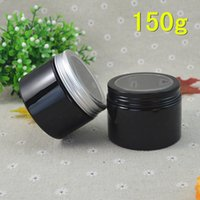 aluminum cosmetic containers - 50pcs g Black Plastic Cosmetic Bottle Window Aluminum Cap Refillable Lip Container Hair Wax Jar ml Style AB43