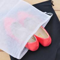 Wholesale Non woven Shoe Drawstring Travel Storage Shoe Dust proof Tote Dust Bag Case White Pouch Tote Bag Dust proof Shoe