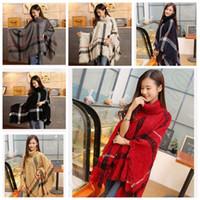Wholesale 14 Colors Women Plaid Poncho Scarf Tassels Cashmere Scarves Grid Cape Wrap Lattice Poncho Shawl Plaid Blanket Cloak Scarves CCA5369