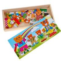 achat en gros de robe ours en bois-Bear Changing Clothes Wooden Puzzle Jouets Bear Family Dressing Jigsaw Puzzle Enfants Bébé Enfants Jouets éducatifs
