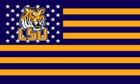 Wholesale LSU Tigers USA Stripe Star Banner Fan Flag X5FT Custom Team Fans Flag National Flag Country Flag Material Polyester WinCraft