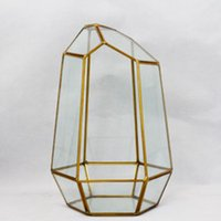 Wholesale Handmade Home Decoration Brass Frame Geometric Glass Flower Green Plant Terrarium Artificial Flower Vase Yellow And Black Color For Choice