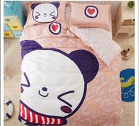 bear comforter set - cute girl child Bedding set bear duvet cover bed Cartoon cute Baby Queen size Twin Cotton