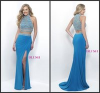 ae lighting - Stunning Beaded Two Pieces Prom Dresses High Neck Sleeveless Corset Bodice Formal Gowns AE Side Split Jersey Mermaid Skirt Party Dress