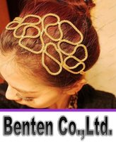 Wholesale Women Hollow Out Braided Gold Head Band Stretch Hair Accessories Gossip Girl In Stock LLFA