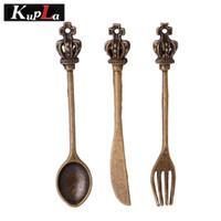 Cuillère à couteaux Prix-Kupla Vintage Crown Crown Knife Fork Spoon Charms Bricolage Fashion Metal Tableware Charms pour la fabrication de bijoux 12pcs / lot C5512