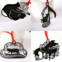 Paper Animal Bookmark Wholesale- Black Metal Copper Alloy Music Knot Instruments Piano Cat Kitty Hollow Bookmark Stationery Gift Party Favors Bookmarks