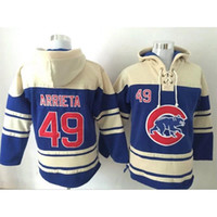 Wholesale Blue Chicago Cubs Jake Arrieta Hoodie New Style Men s Baseball Sweaters Top Quality Lace Up Pullover Hooded Sweatshirt for Sale