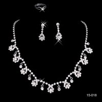 beaded crystal jewelry - Shiny Sliver Necklaces and Earrings Bridal Jewelry Sets Cheap In stock Fast Shipping Beaded Crystals Amazing Necklace for Prom Party