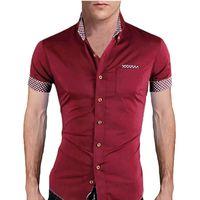 asian dress shirts - Asian Size Men Summer Fashion Clothing Stylish Slim Fit Plaid Patchwork Short Sleeves Dress Shirt Male Leisure Tops Colors