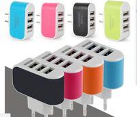 Plastic apple dock adaptor - US EU Plug USB Wall Chargers V A Real A LED Power Adaptor Triple USB Ports