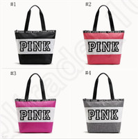 beach shopping - Pink Letter Handbags Women Waterproof Shopping Bags Messenger Bags Shoulder bag Large Capacity Striped Travel Duffle Beach Bag OOA1056