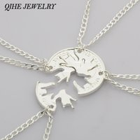 Celtic best creativity - QIHE JEWELRY set Best Friend BFF Friendship Necklace I Love You Hand Sign Cut Coin Puzzle Jewelry Creativity Personality