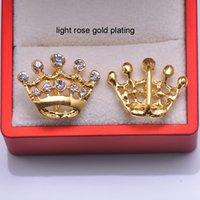 Wholesale L0465 rhinestone buckle crown shape silver plating or light rose gold plating
