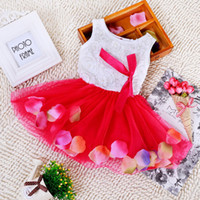 Wholesale Color flower petal dress Fashion High Grade Children s Princess Dresses For year old Bady Clothing Five Colors A002