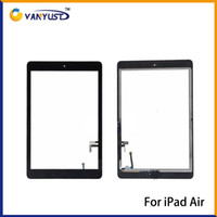 apple ipad mix - Touch Screen Glass Panel with Digitizer Buttons Adhesive for iPad air Black and White Replacement Repair