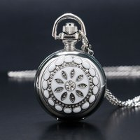 antique dressing mirror - New Fashion Dress Watch Mirror Elegant Silver Jade Crystal Snow Flower Quartz Pocket Watch Necklace Chain Women Lady Girl Gifts
