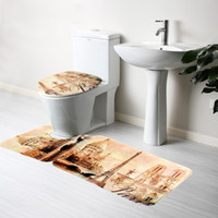 Wholesale Bathroom Pedestal Rug Bath Non Slip Mat Set Piece Lid Toilet Cover Bath Mat and Mat Eiffel Tower Hot Selling