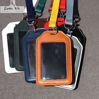 bank straps - Name Credit Card Holders Women Men Leather Bank Card Neck Strap Card Bus ID holders candy colors Identity badge with lanyard
