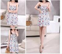 Acheter Jupes bon marché pour l'été-Cheap Hot Selling Nouvelle robe d'été robe sans bretelles avec Bohemian robe en mousseline de soie épaule-sangles plage en gros