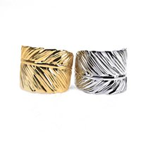 Wholesale Punk Rock Personality Big Leaves Gold Plated Bracelets Bangles Pulseras For Women Jewelry Opening Charm Alloy Bracelet Bijoux