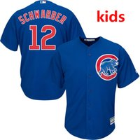 Wholesale 2016 Majestic Youth Kid s Chicago Cubs Kyle Schwarber Royal Cool Base Baseball Jersey blue white