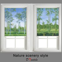 Wholesale Finished photos semi shade polyester roller blind fabric landscape blinds