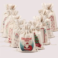 beam decorations - Christmas canvas pocket beam Pure cotton canvas environmental protection bags Santa Claus gift bags Cotton bags