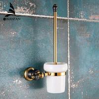 bath accessories kit - Luxury Golden toilet brush holder with Ceramic cup brass bath brush rack toilet wall brush kit bathroom accessories XL