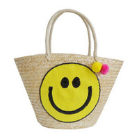 Shoulder Bags beauty tote - Korea Designer Smile Smiling Beauty Straw Bucket Bag Korean New Woven Straw Tote with Hairball Summer Causal Vocation Bag
