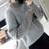 acrylic funnel - European Brand High Street Autumn Turtleneck Faux Fur Sweater Pullover Woman New Fall Fashion Funnel Neck Jumpers