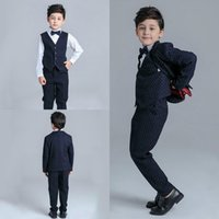 Boy's Formal Wear Three-piece Suit Notched Lapel Boys Suits For Weddings HandSome Boy's Formal Suit Formal Party Three Pieces Rompers Kids Wedding Suits
