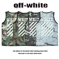 Polyester animal marbles - Mens Basic Off White Camouflage Tank Tops Men Hip Hop Marble Striped Printing Breathable Bodybuilding Kanye West Off White Vests