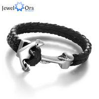 achat en gros de bracelets en cuir mâles authentiques-Q228 authentique cuir ancre en acier inoxydable bracelets bracelets mâle Punk bijoux 215m longueur bracelet pour hommes (JewelOra BA101280)