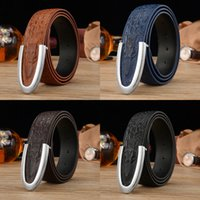 Belts active freight - Hot Men s Belt Casual Cowhide Leather Crocodile Embossed Texture Smoth U Buckle Avoid freight Gift