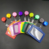 Wholesale Cheap Bank Credit Card Holders with Retractable Reel PU Card Bus ID Holders Identity Badge for Office School