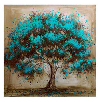 Wholesale Framed Blue Tree Canvas Art Decoration Pure Hand Painted Modern Wall Decor Tree Art Oil Painting On High Quality Canvas Multi sizes a mei