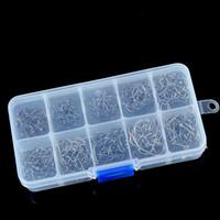 achat en gros de taille crochets-500pcs crochets de crochet de crochet de pêche avec la boîte de piège de pêche de mouche de trou 3 # -12 # 10 tailles d'acier au carbone Fishhooks