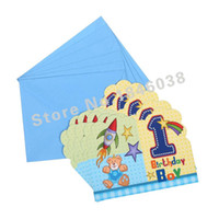 Invitation Card bear invitations - Envelop Shape1st Little bear Theme Party Invitation Card Kids Baby Birthday Festival Party Card Decoration Supplies