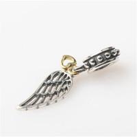 Pluma encanto pendiente cuelgan el tornillo 100% auténtico 925 de plata de ley 14K oro corazón de moda mujeres joyas de estilo europeo para Pandora pulsera