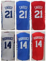 best shirt material - 2016 Stitched Joel Embiid Sergio Rodriguez Jerseys Shirt Team Blue White Men Breathable Rev New Material Best factory outlet