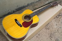 acoustic yellow - New Brand Inch Acoustic Guitar with Vintage Yellow Body Top Solid Wood Red Pickguard and can be Customized