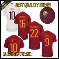 Wholesale 2016 Top Thai Quality Rome Soccer Jerseys TOTTI DE ROSSI DZEKO EL SHAARAWY Camiseta Home Away Third Rome Football Shirts