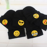 apparel and accessories - Emoji Warm Woolen Knitted Caps Women And Men QQ Expression Beanie Skull Caps Clothes Apparel Accessories Black Color