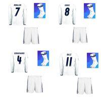 Wholesale 1617 Real Madrid Long Sleeve Home Soccer Jerseys Hot Soccer Uniforms RONALDO BENZEMA BALE Football Shirts Shorts Socks Camisetas De Futbol