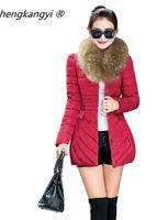 Wholesale Detachable Fur Collar Long Down Winter Coat Women Slim Jacket Parka For Womens Winter Jackets And Coats Plus Size XL