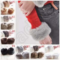 Wholesale Imitation Rabbit Fur Oversleeve Windproof Winter Warm Women Soft Covered Fingerless Hand Ring Cuff Wristband Sleevelet colors OOA899